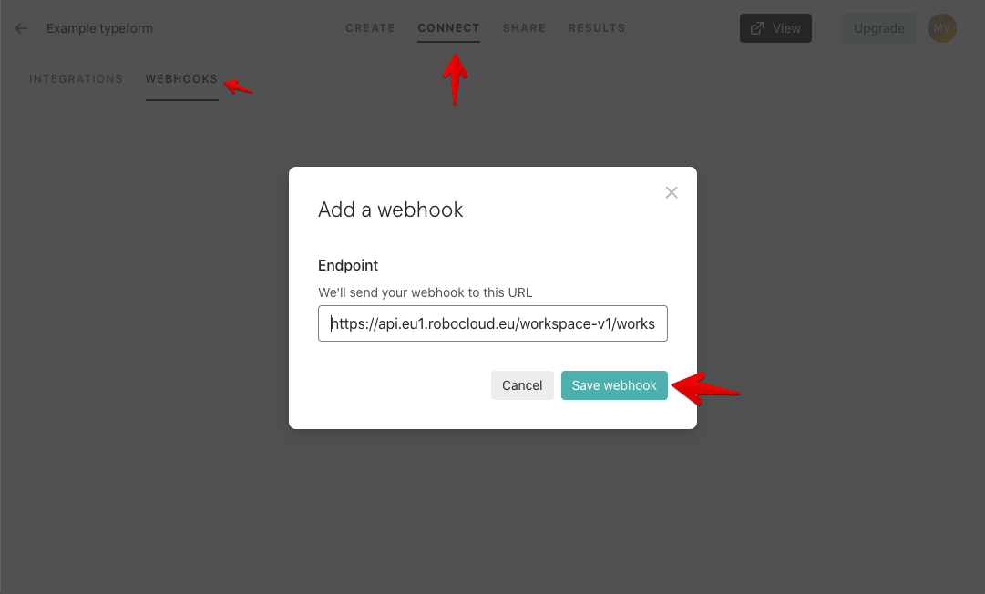 Typeform add new webhook